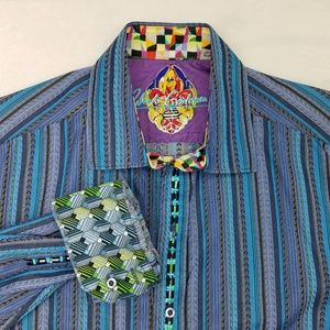 Robert Graham Flip Cuff Embroidered Shirt Medium